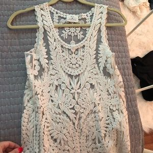 NWOT Urban Outfitters Cream Lace Sheer Tank